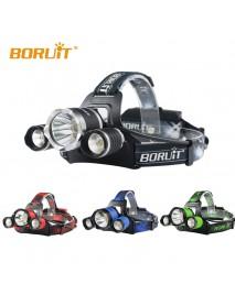 BORUIT B21 1 x L2 + 2 x XPE R2 LED 4-Mode 5000 lumens Headlamp with Plug Charger (2 x 18650 )