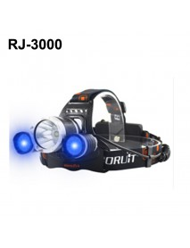 BORUIT RJ-3000 Color light Series 1 x T6 + 2 x R2 Blue LED 3-Mode 1000 lumens Headlamp with Plug Charger (2  x 18650 )
