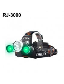 BORUIT RJ-3000 Color light Series 1 x T6 + 2 x R2 Green LED 3-Mode 1000 lumens Headlamp with Plug Charger (2  x 18650 )