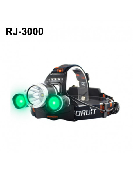 BORUIT RJ-3000 Color light Series 1 x T6 + 2 x R2 Green LED 3-Mode 1000 lumens Headlamp with Plug Charger (2  x 18650 )