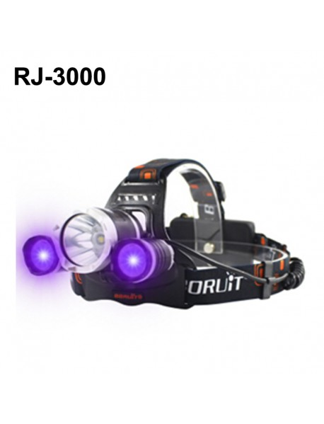 BORUIT RJ-3000 Color light Series 1 x T6 + 2 x R2 Purple LED 3-Mode 1000 lumens Headlamp with Plug Charger (2  x 18650 )