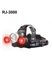 BORUIT RJ-3000 Color light Series 1 x T6 + 2 x R2 Red LED 3-Mode 1000 lumens Headlamp with Plug Charger (2  x 18650 )