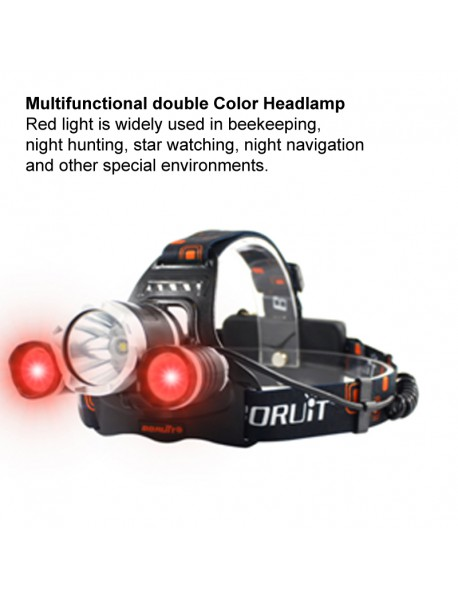 BORUIT RJ-3000 Color light Series 1 x T6 + 2 x R2 Red LED 3-Mode 1000 lumens Headlamp with Plug Charger (2  x 18650 )