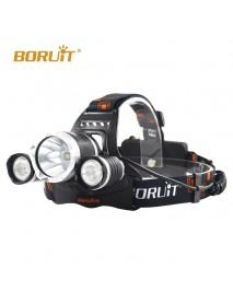 BORUIT RJ-3000 1 x XM-L2 + 2 x R2 LED 4-Mode 2400 lumens Headlamp with Plug Charger (2  x 18650 )
