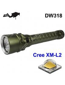 DW318 3 x Cree XM-L2 U3 3000 Lumens Stepless Adjusted Diving LED Flashlight - Olivia Green ( 2x18650 )
