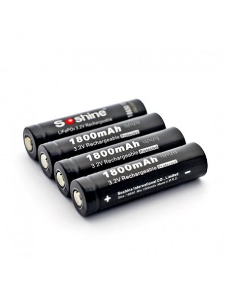Soshine LiFePO4 18650 3.2V 1800mAh Rechargeable 18650 Battery with PCB (2 pcs)