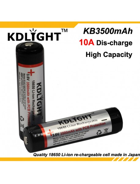 KDLIGHT KB3500mAh 3.6V 3500mAh Rechargeable Li-ion 18650 Battery with PCB