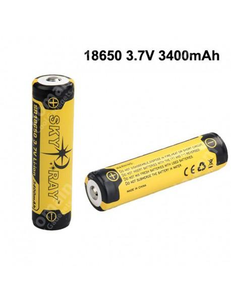 SKY RAY SR18650 3.7V 3400mAh Protected Rechargeable Li-ion 18650 Battery - 2 pcs