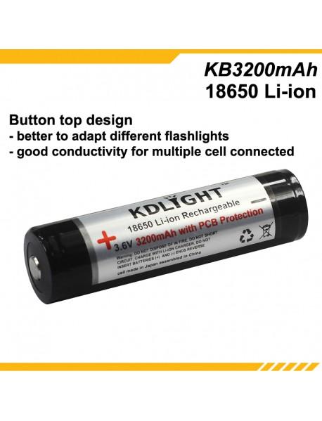 KDLIGHT KB3200mAh 3.6V 3200mAh Rechargeable Li-ion 18650 Battery with PCB