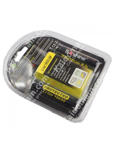 Soshine 18650 3.7V 2800mAh Rechargeable Li-ion Battery With PCB (2PCS)