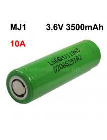 MJ1 3.6V 10A 3500mAh Rechargeable Li-ion 18650 Battery without PCB - 1 pc
