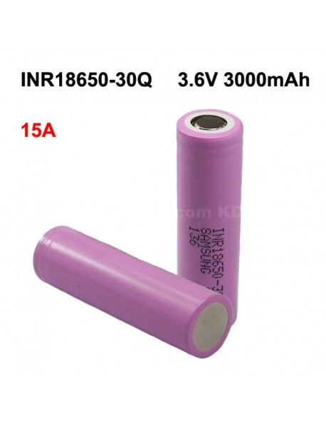 INR18650-30Q 3.6V 15A 3000mAh Rechargeable Li-ion 18650 Battery without PCB - 1 pc