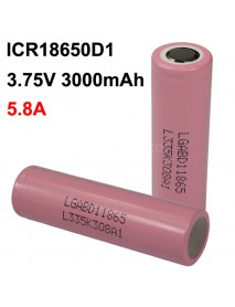 ICR18650D1 3.75V 5.8A 3000mAh Rechargeable Li-ion 18650 Battery without PCB - 1 pc