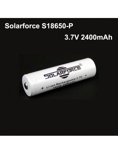 Solarforce S18650-P 3.7V 2400mAh Rechargeable Li-ion 18650 Battery with PCB (1 pc)