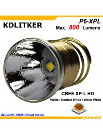 KDLITKER P6-XPLHD Cree XP-L HD 800 Lumens 3V - 9V P60 Drop-in