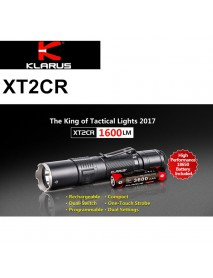 KLARUS XT2CR CREE XHP35 HD E4 1600 Lumens 6-Modes LED Flashlight - Black ( 1 x 18650 / 2 x   CR123A )