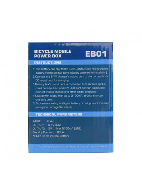 EB01 BICYCLE MOBILE POWER BOX - Black ( 2 x 26650 )