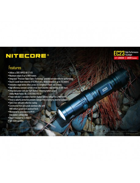 NiteCore EC23 CREE XHP35 HD E2 LED 1800 Lumens Flashlight (1 x 18650 / 2 × CR123 / IMR) - Black