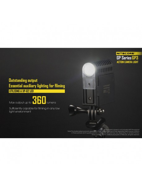 Nitecore GP3 CRI CREE Nichia 219B LED 270 Lumens 5-Mode Action Camera Light (1 x NLGP3)