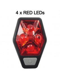 RP RPL-2231 4 x RED LED 4-Mode Safety Bike Tail Light with Mount - Black ( 2xAAA )