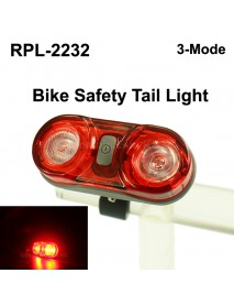 RP RPL-2232 2 x RED LED 3-Mode Safety Bike Tail Light with Mount - Black ( 2xAAA )