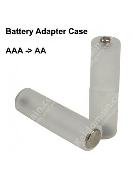 AA to AAA Battery Adapter Case with Aluminum Bottom Cap - Transparent ( 2 pcs )