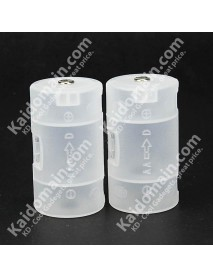 AA to D Battery Adapter Case - Translucent ( 2 pcs )