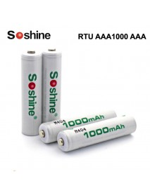 Soshine RTU AAA1000 AAA 1.2V 1000mAh Rechargeable NI-MH AAA Battery - 4 pc