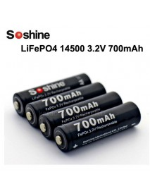 Soshine LiFePO4 14500/AA 3.2V 700mAh Rechargeable 14500 Battery / AA Battery (4 pcs)