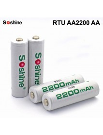 Soshine RTU AA2200 AA 1.2V 2200mAh Rechargeable NI-MH AA Battery - 4 pcs