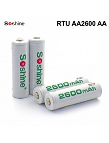 Soshine RTU AA2600 AA 1.2V 2600mAh Rechargeable NI-MH AA Battery - 4 pc