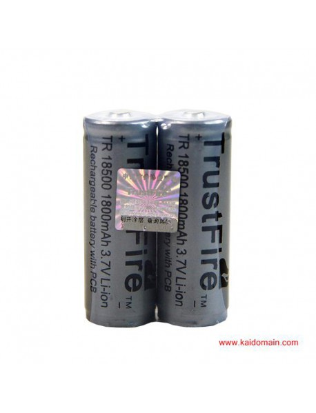 TrustFire 18500 1800mAh 3.7V Li-ion Rechargeable Battery with Proteced PCB (2pcs)