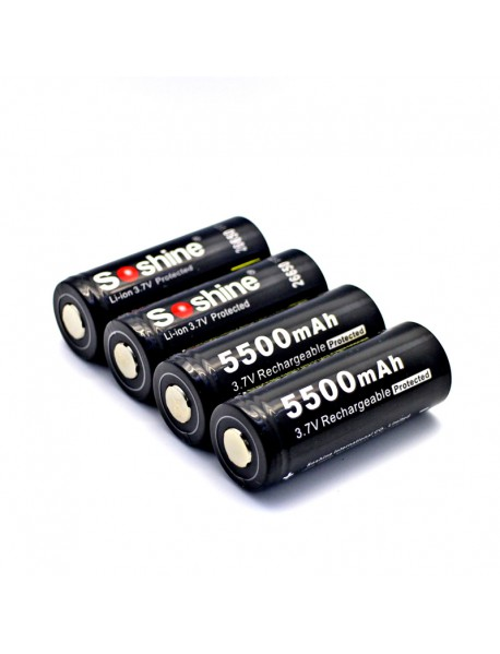 Soshine 26650 3.7V 5500mAh Rechargeable Li-ion 26650 Battery with PCB (2 pcs)