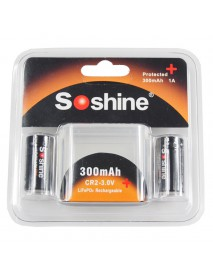 Soshine LiFePO4 CR2 3.0V 300mAh Protected Rechargeable CR2 Battery (2 pcs)