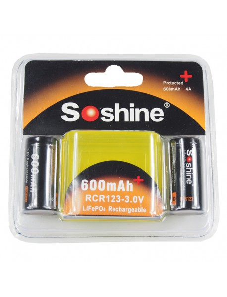 Soshine LiFePO4 RCR123 3.0V 600mAh Protected Rechargeable RCR123 Battery (2 pcs)