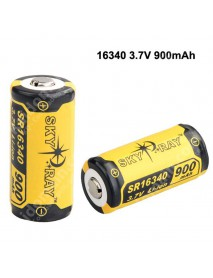 SKY RAY SR16340 3.7V 900mAh Protected Rechargeable Li-ion 16340 Battery - 2 pcs