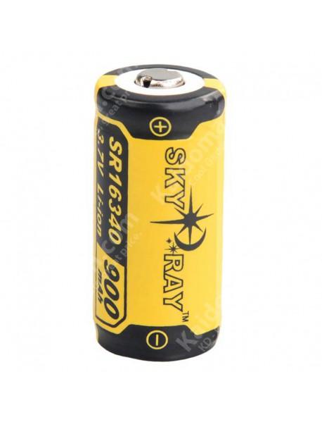 SKY RAY SR16340 3.7V 900mAh Protected Rechargeable Li-ion 16340 Battery - 2 pcs