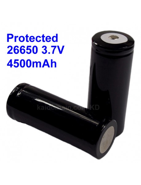 Protected 26650 3.7V 4500mAh Rechargeable Li-ion 26650 Battery - 1 Piece