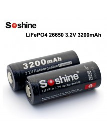 Soshine LiFePO4 26650 3.2V 3200mAh Rechargeable 26650 Battery with PCB (2 pcs)