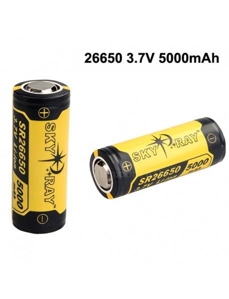 SKY RAY SR26650 3.7V 5000mAh Protected Rechargeable Li-ion 26650 Battery - 2 pcs