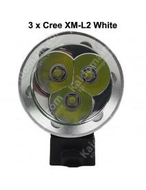 BL344 3 x Cree XM-L2 U2 White 6500K 4-Mode 1200 Lumens LED Bike Light - Black