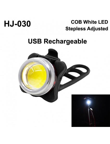 HJ-030 COB White LED 50 Lumens Stepless Adjusted USB Rechargeable Bike Light ( 1 pc )