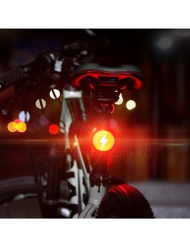 ZY-180 Thunder Shaped COB Red LED Light 120 Lumens 5-Mode USB Rechargeable Bike Tail Light - 1 pc