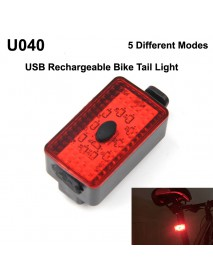 U040 10 x Red LED 5-Mode USB Rechargeable Safety Bike Rear Light (1 pc)