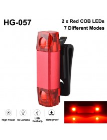 HG-057 2 x COB Red LED 2 Groups of 7-Mode USB Rechargeable Safety Bike Rear Light (1 pc)