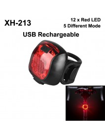 XH-213 Red and White LED 5-Mode USB Rechargeable Safety Bike Rear Light (1 pc)