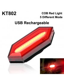 KT802 COB Red LED 4-Mode USB Rechargeable Safety Bike Rear Light (1 pc)