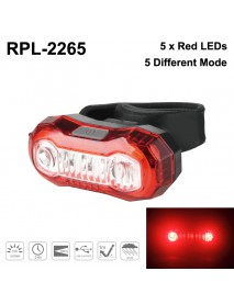RPL-2265 Red LED 100 Lumens 5-Mode USB Rechargeable Bike Tail Light (1 pc)