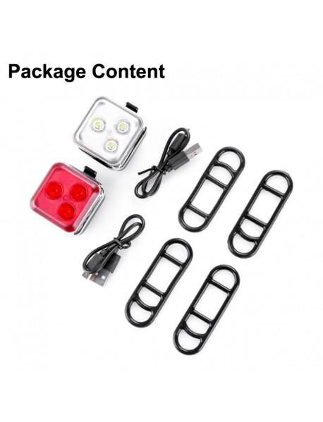 HJ-031 3 x LED 4-Mode USB Rechargeable Bike Light (1 PC)