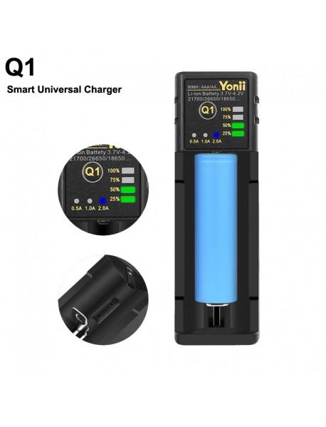 Q1 Smart Universal Charger with 1-Slot for Li-ion/Ni-MH/Ni-CD Batteries - Black